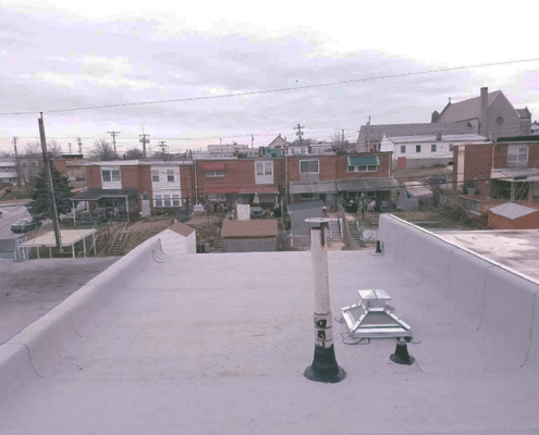 pipe collar repair on flat roof