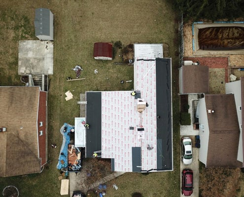 image from the sky, roofing replacement