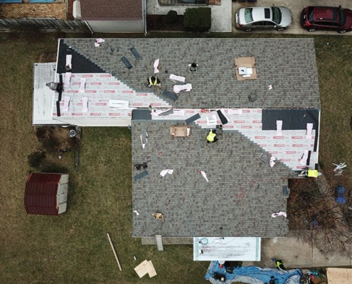 fixing a roof from above