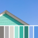 Grey rooftop with shingle wall in peppermint green, against clear blue sky background. In a colour palette with complimentary colour swatches.