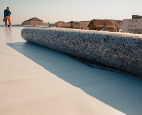 Geotextile,For,Roof,,Covered,With,Synthetic,Pvc,Membrane